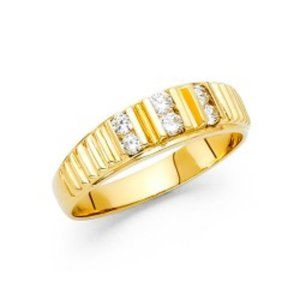 6mm Solid 14k Yellow Gold CZ Men's  wedding Band